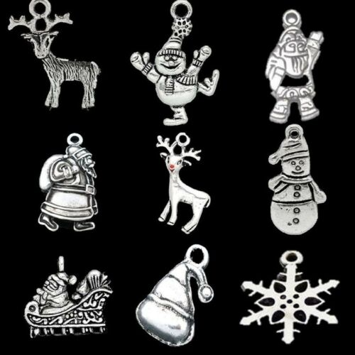 50g Mixed Christmas Series Metal Charms Pendants DIY Jewelry Accessories Silver