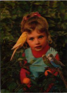 3D-3-D-Postcard-Little-Girl-with-Parakeets-Budgies-Postcard-I20