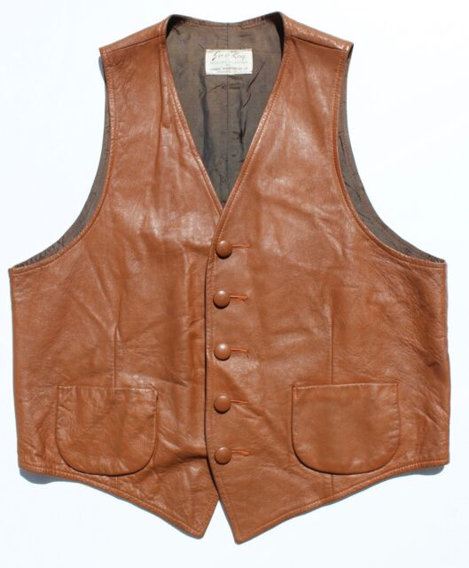 Jo-O-Kay Vintage Gentleman's Size Medium Brown Western Leather Five-Button Vest!