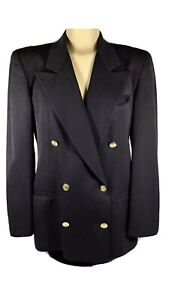Austin Reed Women S Blue Wool Oxford Blazer Jacket Double Breasted Gold Button 4 Ebay