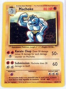 UNCOMMON MACHOKE 34//102 ORIGINAL BASE SET POKEMON CARD GO