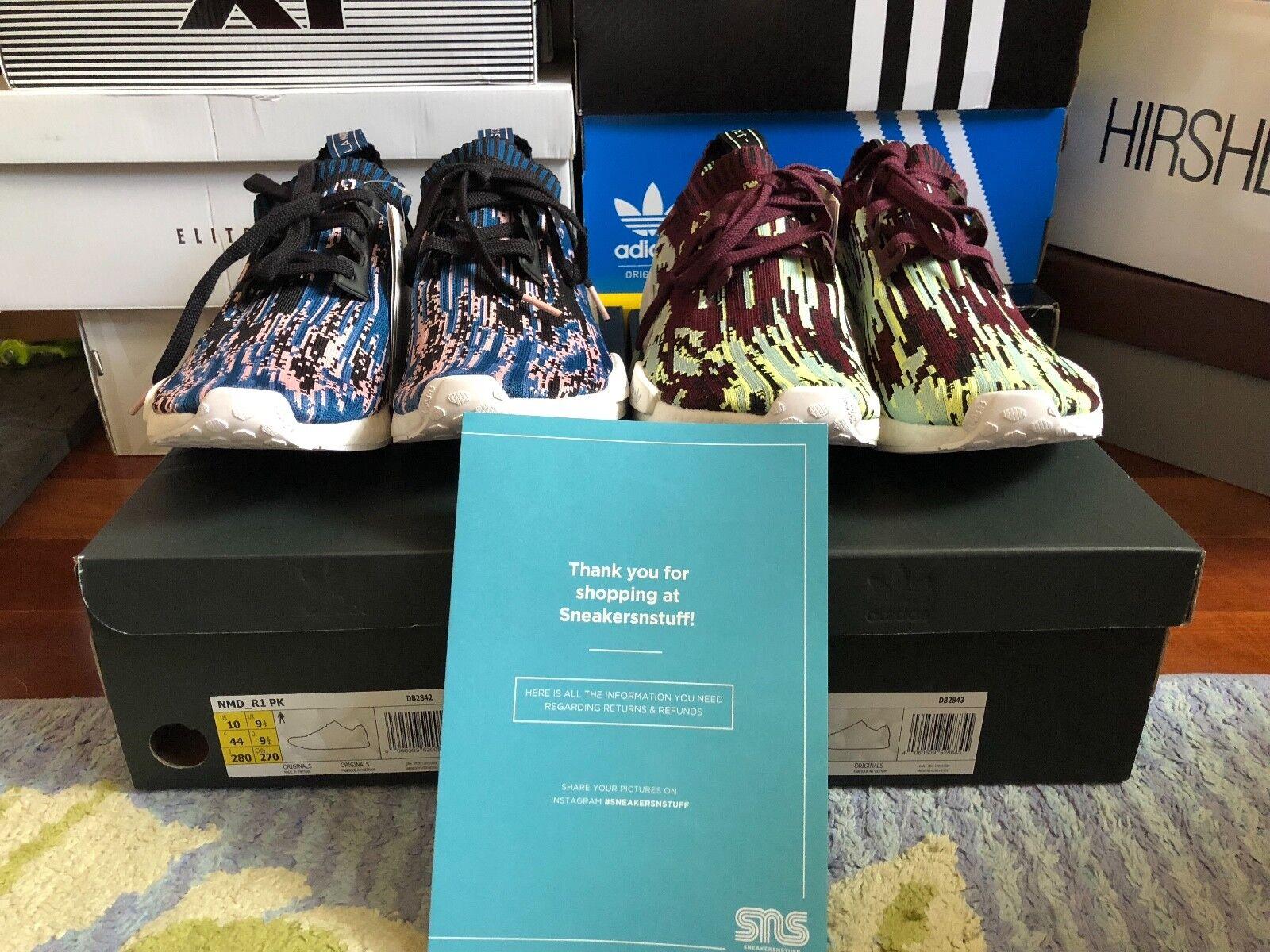 Zwei sns x adidas nmd r1 pk datamosh 2.0 pack - größe 10 (beide colorways)