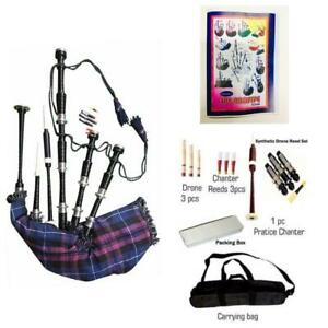 Scottish-Pride-Of-Scotland-Bagpipes-Silver-Amounts-Rosewood-Black-Bagpipe