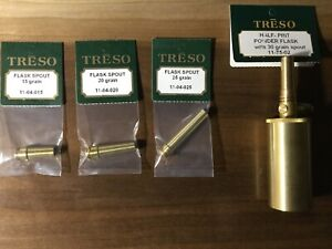 TRESO-solid-brass-Half-Pint-Powder-Flask-PLUS-THREE-SPOUTS-Made-in-USA