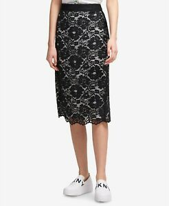 DKNY-Womens-New-1399-Lace-Below-The-Knee-Pencil-Skirt-Black-Ivory-Size-6