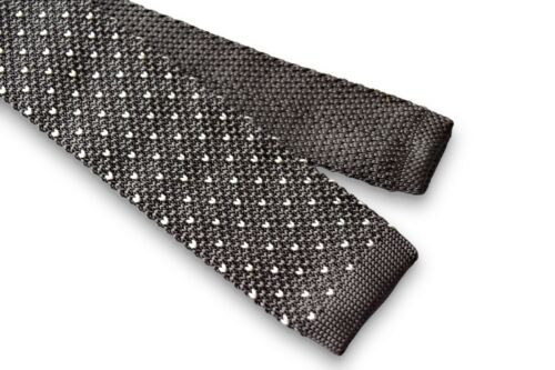Frederick Thomas Knitted Skinny Grey Tie with White Pin Spot FT3374