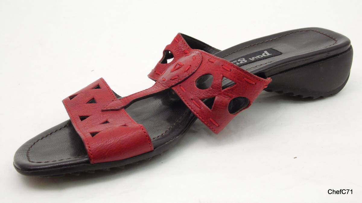 PAUL GREEN RED LEATHER 2 STRAO STRAO STRAO SLIDES SANDALS AT 5.5 US WOMENS 8 1.5  HEEL USED 672cf1