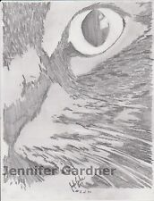 Cat's Eye Sketch 11x8 inches Original Art Pencil Signed Limited Edition Gardner