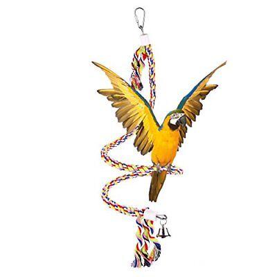 49 Inch Bird Bungees Rope Toy Hanging Spiral Parrot Perch Play Ring Bell Medium Gemakkelijk Te Repareren