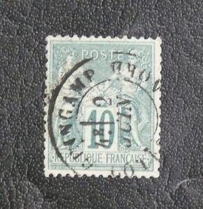 TIMBRES-DE-FRANCE-1876-78-YVERT-N-76-10-CENTIMES-VERT-N-SOUS-U-Oblitere