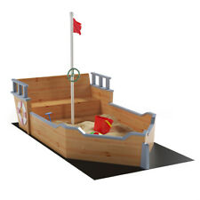 Pirate Boat Wood Sandbox for Kids with Bench Seat and Flag Pirate Sandbox Toys