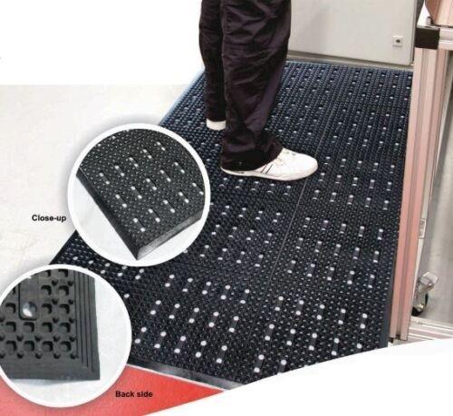 1.5m x 0.9m Bevel Edge Square Pattern Anti Fatigue Drainage Workstation Mat