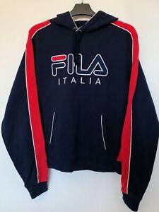 Vintage-FILA-Spell-Out-Logo-Hoodie-Sweatshirt-in-Navy-Blue-Size-S-90s-Retro