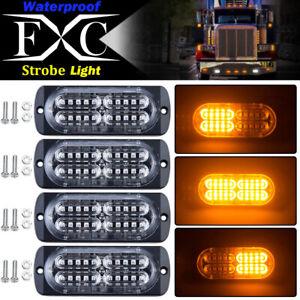 4X-Amber-20-LED-Car-Truck-Emergency-Beacon-Warning-Hazard-Flash-Strobe-Light-Bar