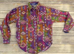 Vintage-Womens-Western-Shirt-Southwestern-Cowgirl-Cowboy-Purple-Green-Small