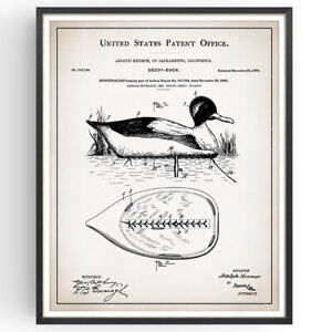 Size and Frame Options Duck Hunting Decoy Waterfowl Rustic Patent Art Print