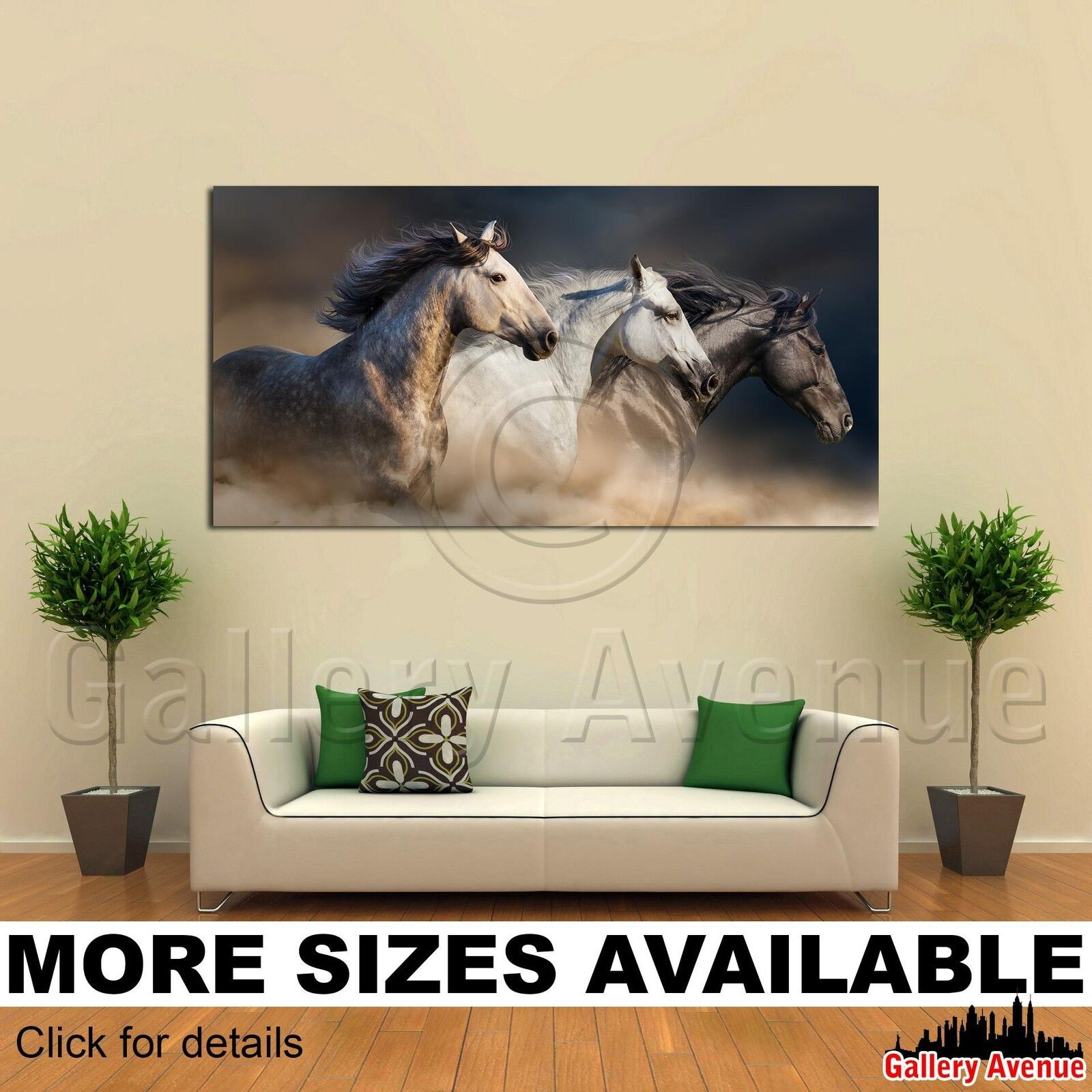 Wall Art Canvas Picture Print - Horses Portrait Running in Desert Dust 2.1