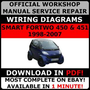 official workshop repair manual for smart fortwo 450 451 1998 2007 rh ebay com smart fortwo 450 and 451 workshop repair service manual smart fortwo 450 workshop manual download