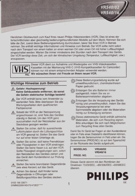 """Videorecorder /"""" Philips VR 175 /"""" -- OHNE Fernbedienung"""