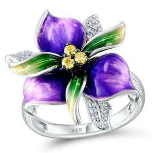 925 Silver Women Gorgeous Flower Wedding Rings Round Cut Citrine Ring XMAS GIFT