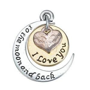 5 I love you to the moon and back ANTIQUE SILVER~GOLD MOON CHARM/PENDANT(76D)
