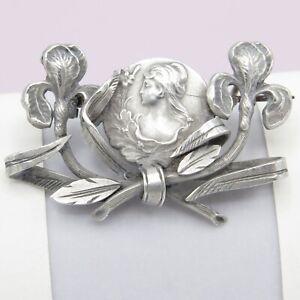 Vtg-Antique-Art-Nouveau-800-Silver-Iris-Flower-Lady-Brooch-Pin