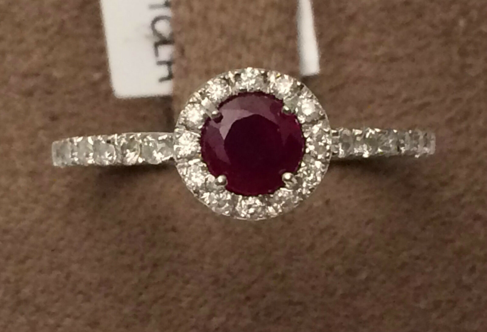14k White gold Round Shape Halo 5mm  July RUBY Diamonds Engagement Ring Fashion