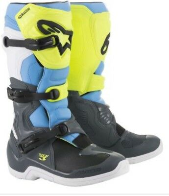 9 US, Red Fluo Blue White Tech 5 Off-Road Motocross Boot