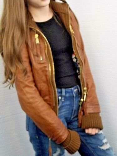 Brown Lambs Size Wool 40eu Trim Jacket Leather Ladies Dsquared2 Bomber Italy 8us qf1ztwAxWS