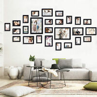 Us Stock Wall Photo Frame Set Family 26pcs/lot Black Wood Wall Picture Set