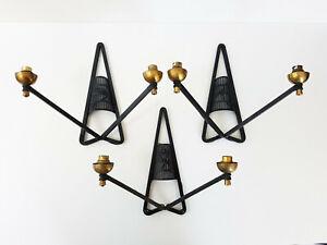 CréAtif Suite De 3 Appliques 1950 Vintage Acier & Laiton 50s 50's Rockabilly Annees 50