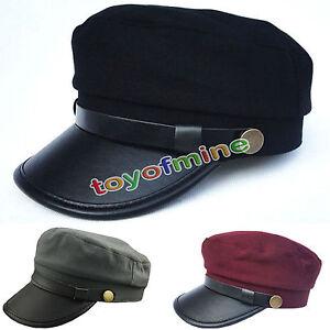 Mujer-Hombre-Gorra-Militar-Ejercito-Marinero-Cuero-Sombrero-Plana-Hebilla-Gorro