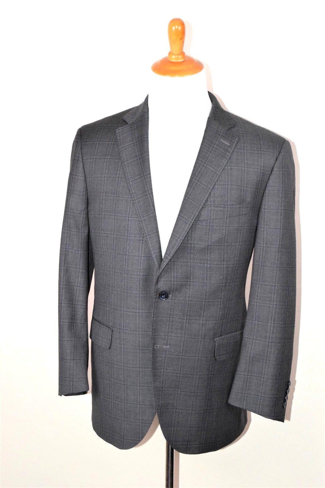 Peter Millar  Herren Charcoal Plaid Suit Four Seasons 100% Loro Piana Wool 42R 32W