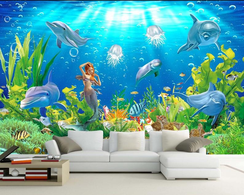 3D Meerjungfrau Delphin 906 Tapete Wandgemälde Tapete Tapeten Bild Familie DE   Modernes Design    New Listing    Deutschland Online Shop