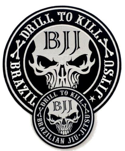 Medium Size Big 2 SET /'Drill to Kill/' Patches Brazilian Jiu Jitsu Gi Patch