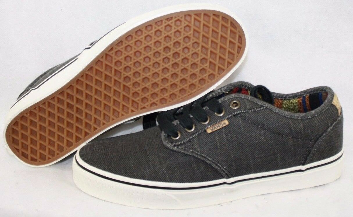 NEW Mens VANS Atwood Deluxe Black Washed Look Casual Off The Wall Sneakers Shoes