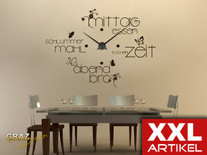 wandtattoo wanduhr xxl f r k che mit verschiedenen. Black Bedroom Furniture Sets. Home Design Ideas