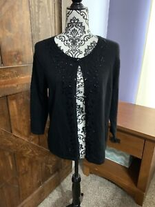 MARISA CHRISTINA Black Italian Merino Wool Embellished Front Cardigan Sweater M