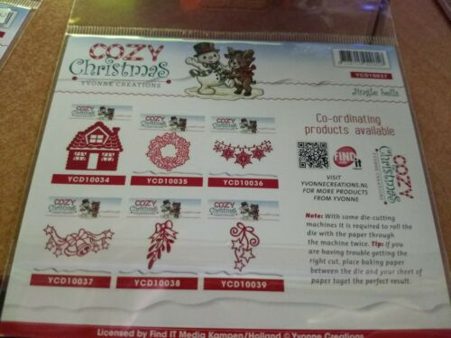 STENCIL COZY CHRISTMAS JINGLE BELLS  YVONNE CREATIONS YCD10037 11X5 CM J1017