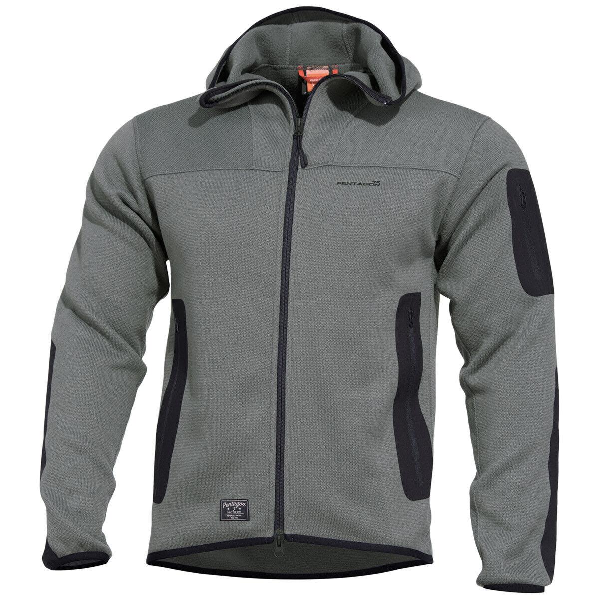 Pentagon Falcon Taktisch Sweatshirt 2.0 Mit Kapuze Herren Vlies Jacke Wolf Grau