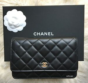 6796730f56c4 Image is loading NEW-CHANEL-CLASSIC-LAMBSKIN-GOLD-WALLET-ON-CHAIN-