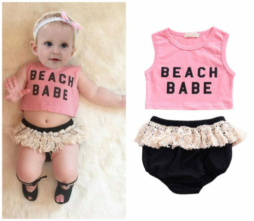Kids Baby Girls Summer Tenues Vêtements Crop Top /& Tassel PP pantalon court 2PCS Set