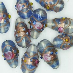 Glass-Beads-Light-Blue-Transparent-Gilded-Floral-Drop-22mm-Pk-10-Made-in-India
