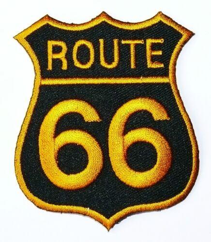 Ricamate patch aufbügler Route 66 Stemma colorato Biker Trucker USA tonaca Giacca