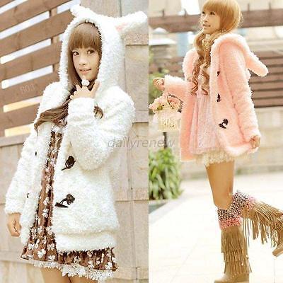 Winter Warm Women Fleece Coat Hooded Bunny Rabbit Ears Jacket Hoodie Outerwear