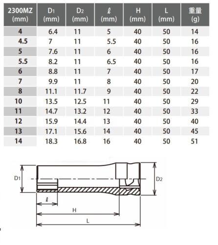 """6 pt Koken /""""zèle/"""" 1//4 pouces lecteur douille profonde 2300MZ-4 ~ 14 Made in Japan"""