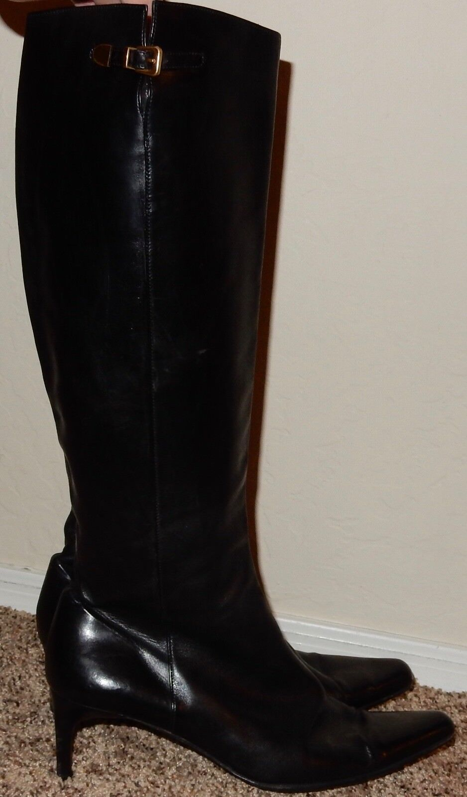 Ralph Lauren Made in  Black Leather Boots Sz 9.5