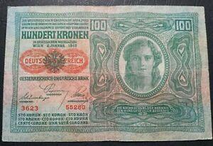 AUSTRIA-HUNGARY-100-Kronen-with-Overprint-1912-Wien-Budapest