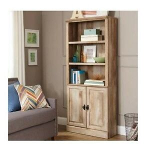 Image Is Loading Tall Rustic Bookcase Oak Shelves Cabinet Weathered Furniture