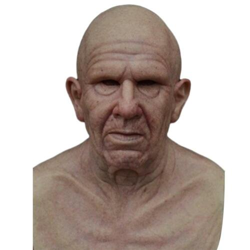 Cosplay Bald Old Man Creepy Wrinkle Face Halloween Party Carnival Props